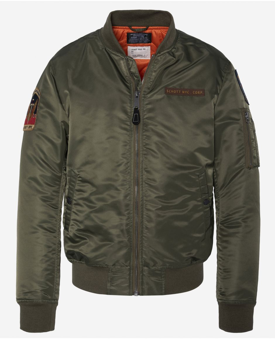 Patched MA-1 bomber jacket