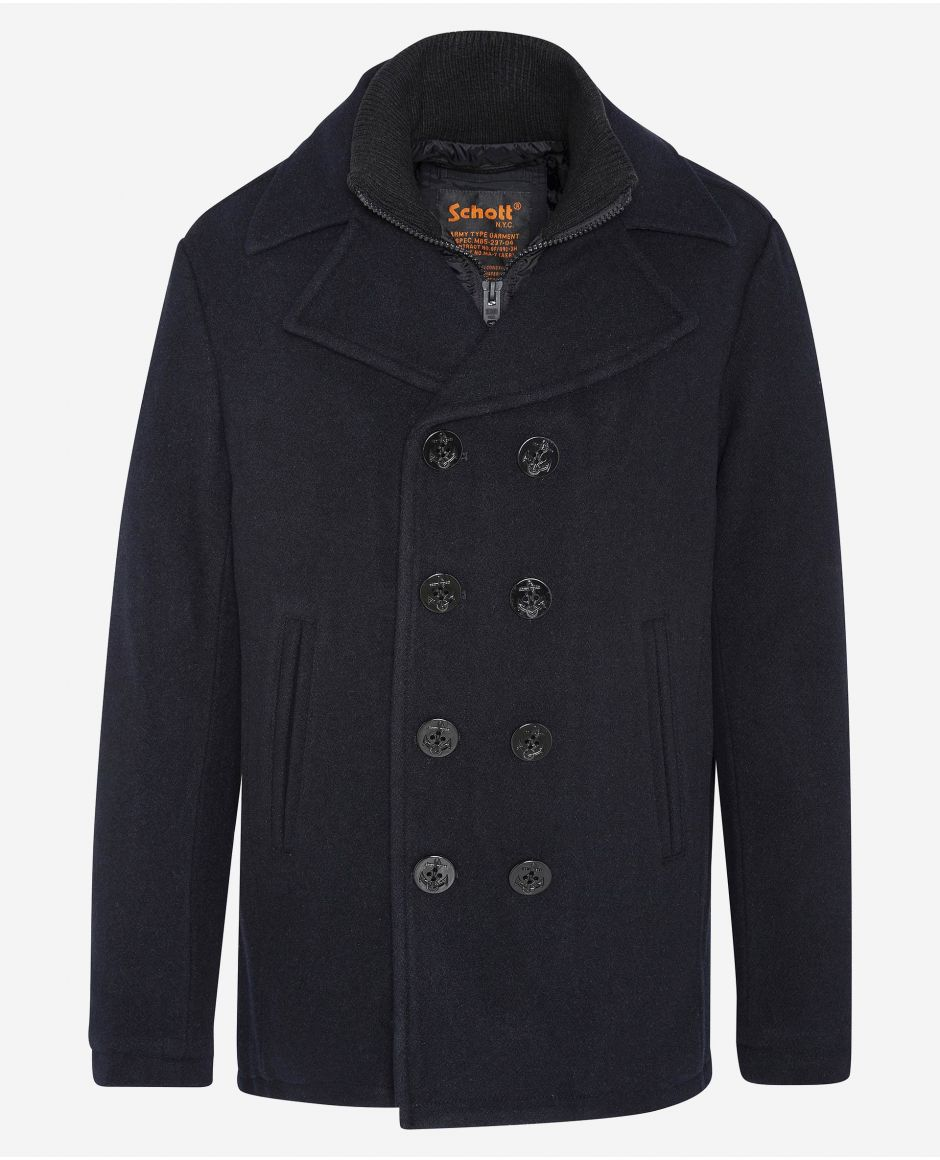 Wool peacoat with removable nylon center front placket