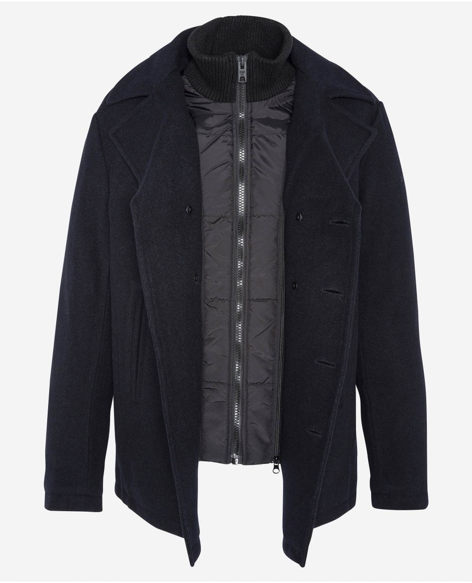 Woolen peacoat with removable placket