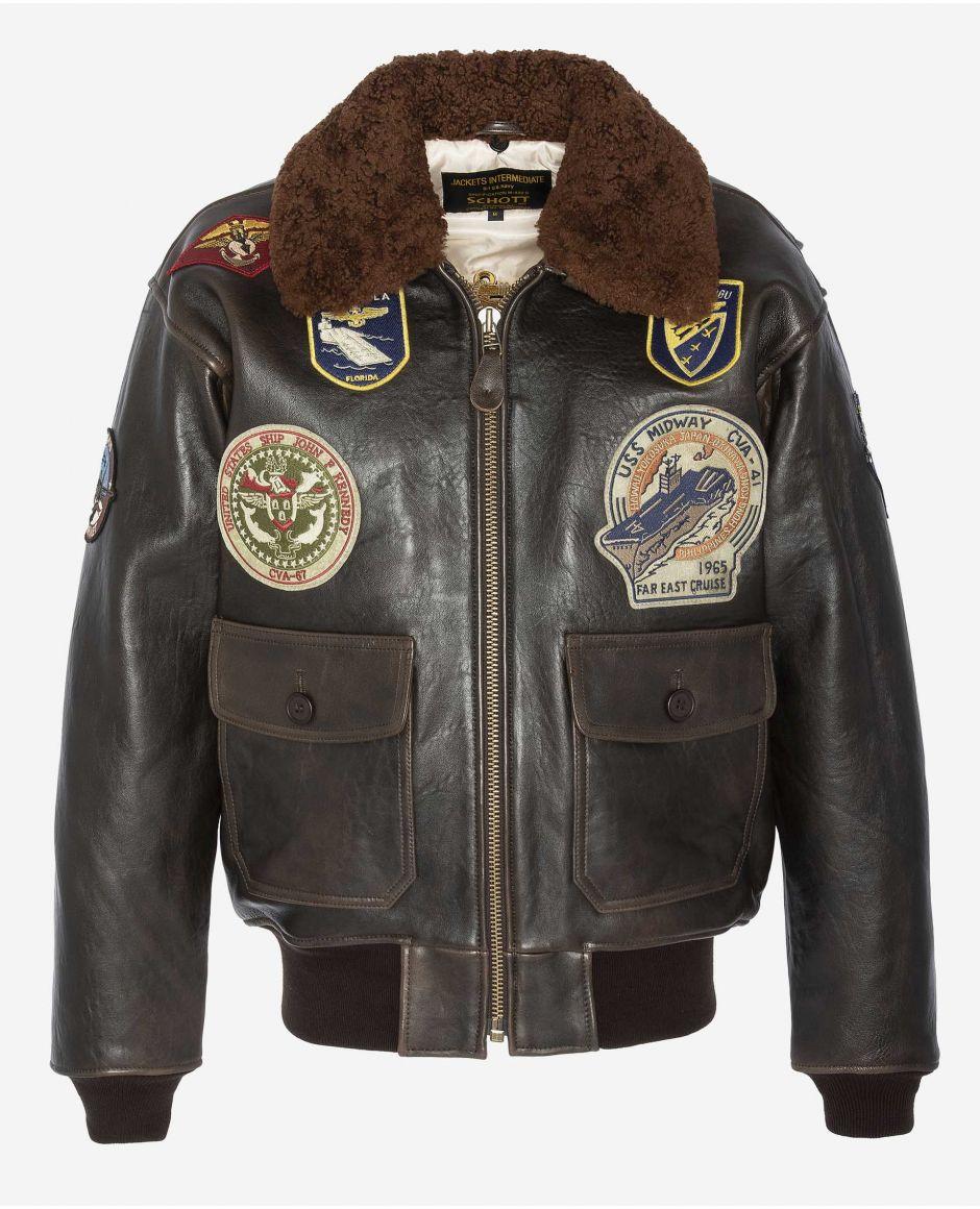 """Blouson aviateur en cuir G-1 """"Wings of Gold"""", mythique USA"""