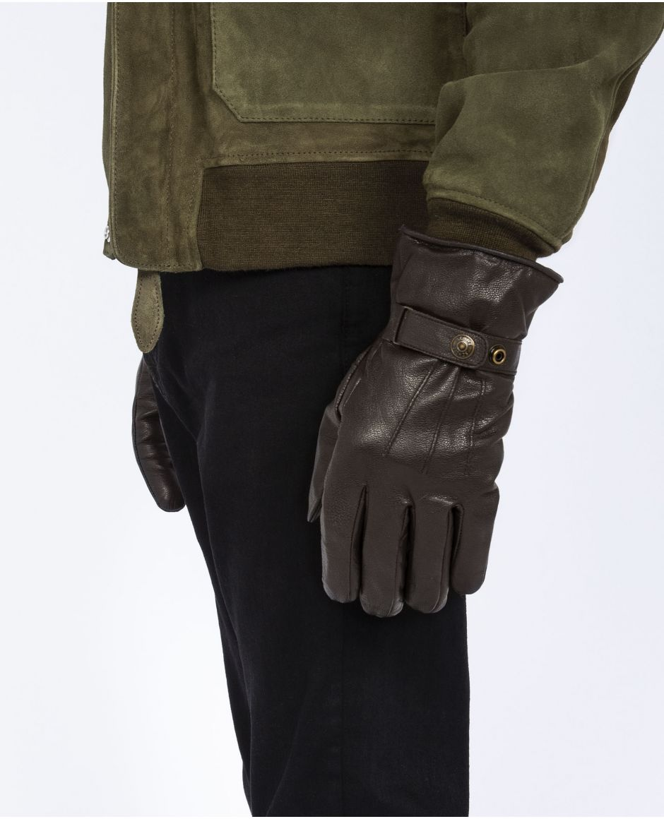 Snap fastener leather gloves
