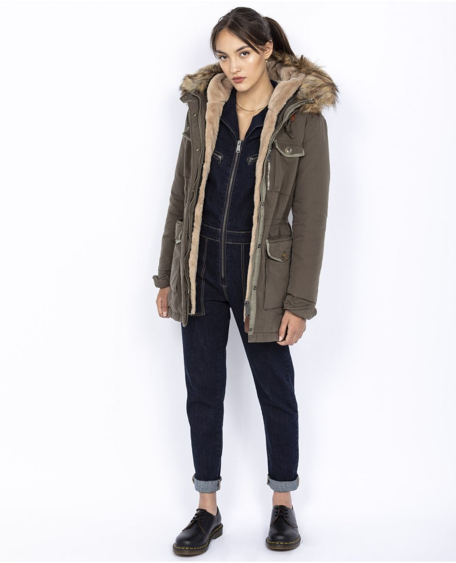 Parka with fixed hood
