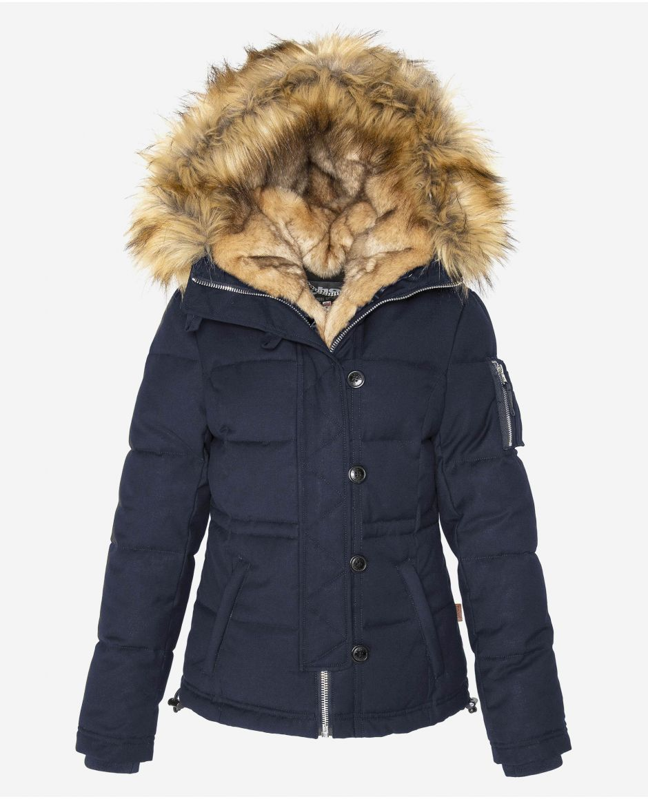 Short parka with fixed hood