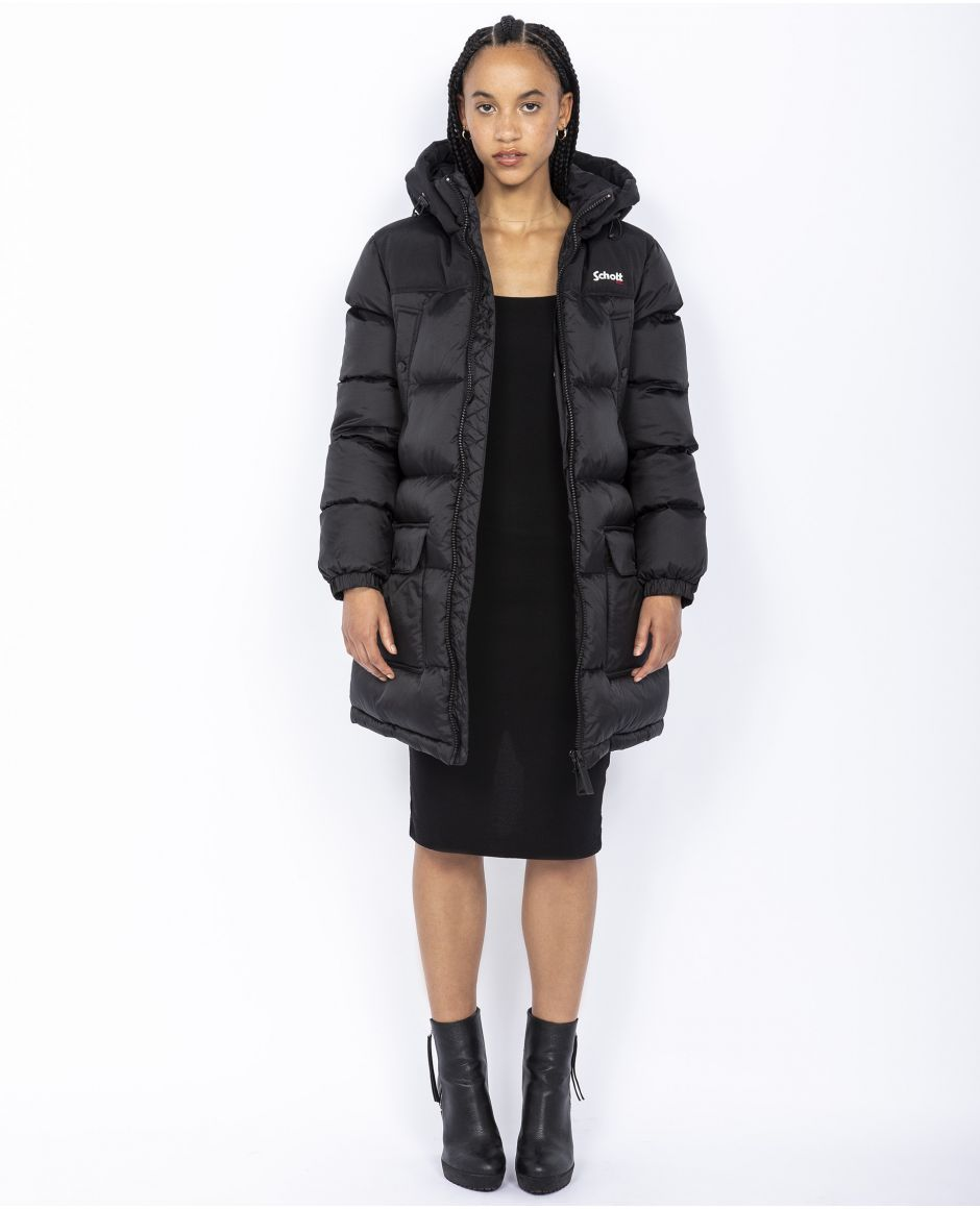 Puffer jacket with fixed hood