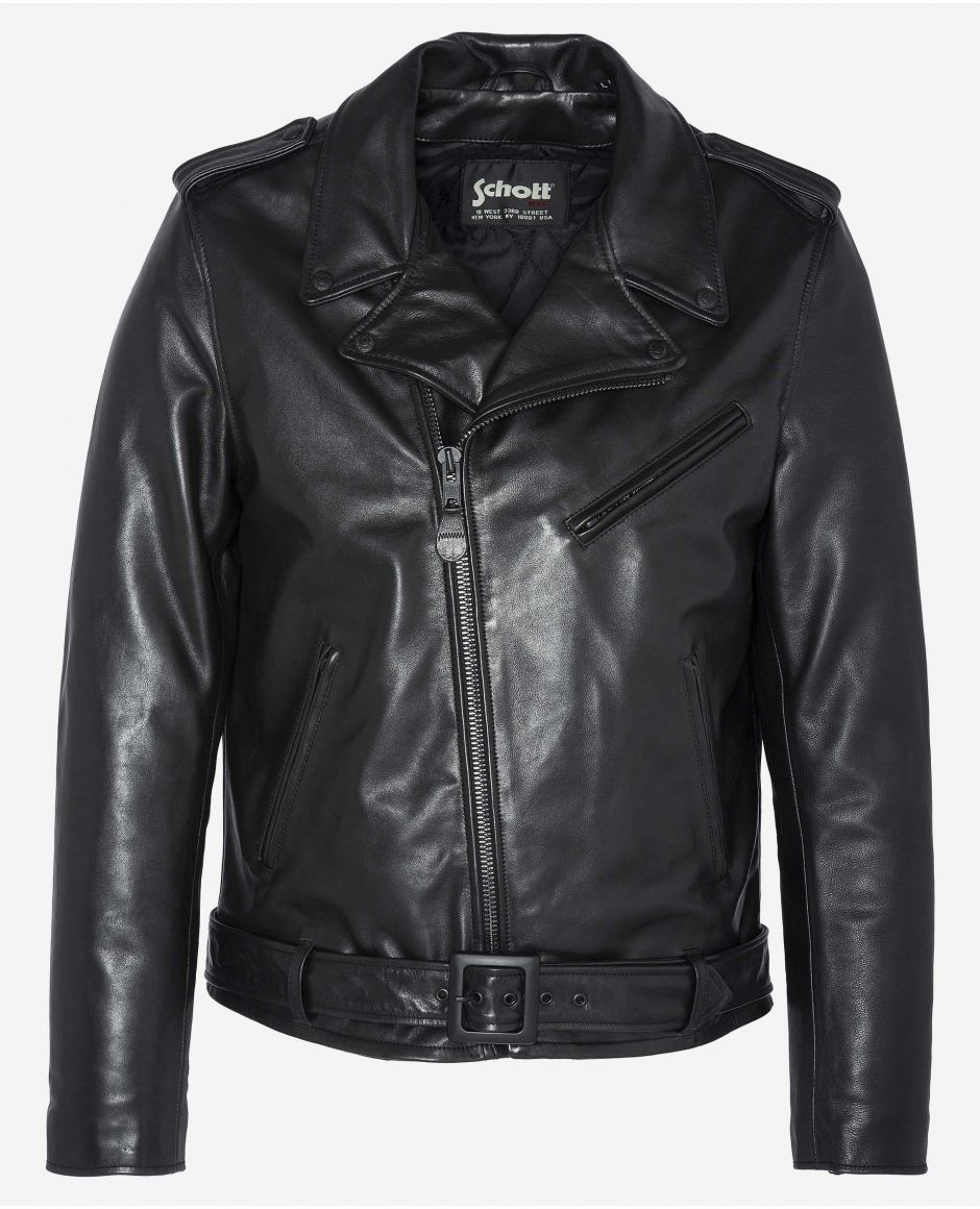 «Full black» fitted Perfecto® jacket, with belt