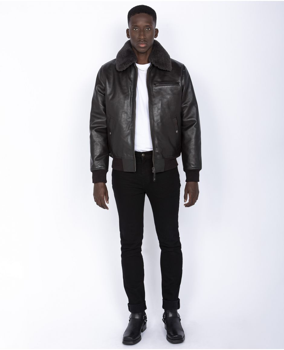 Flight jacket, removable shearling collar and removable nylon line