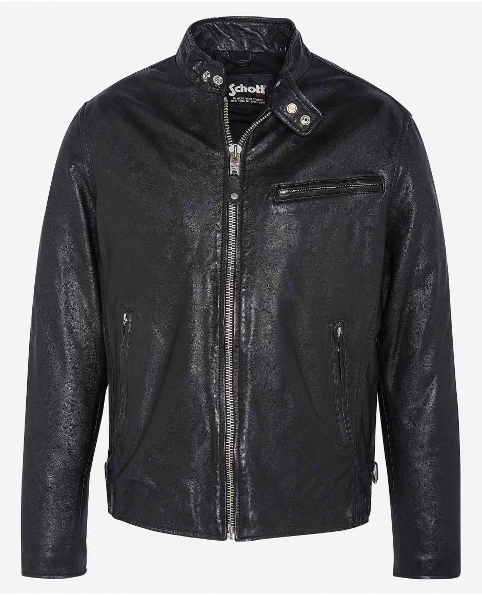 True classic Café racer jacket, cuir d'agneau lavé