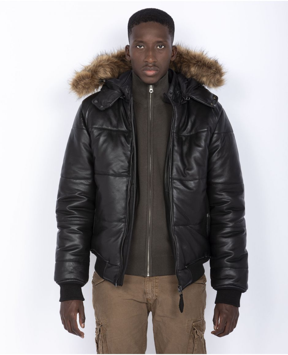 Leather puffer jacket, removable hood