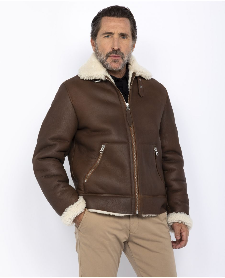 Retro double face sheepskin jacket