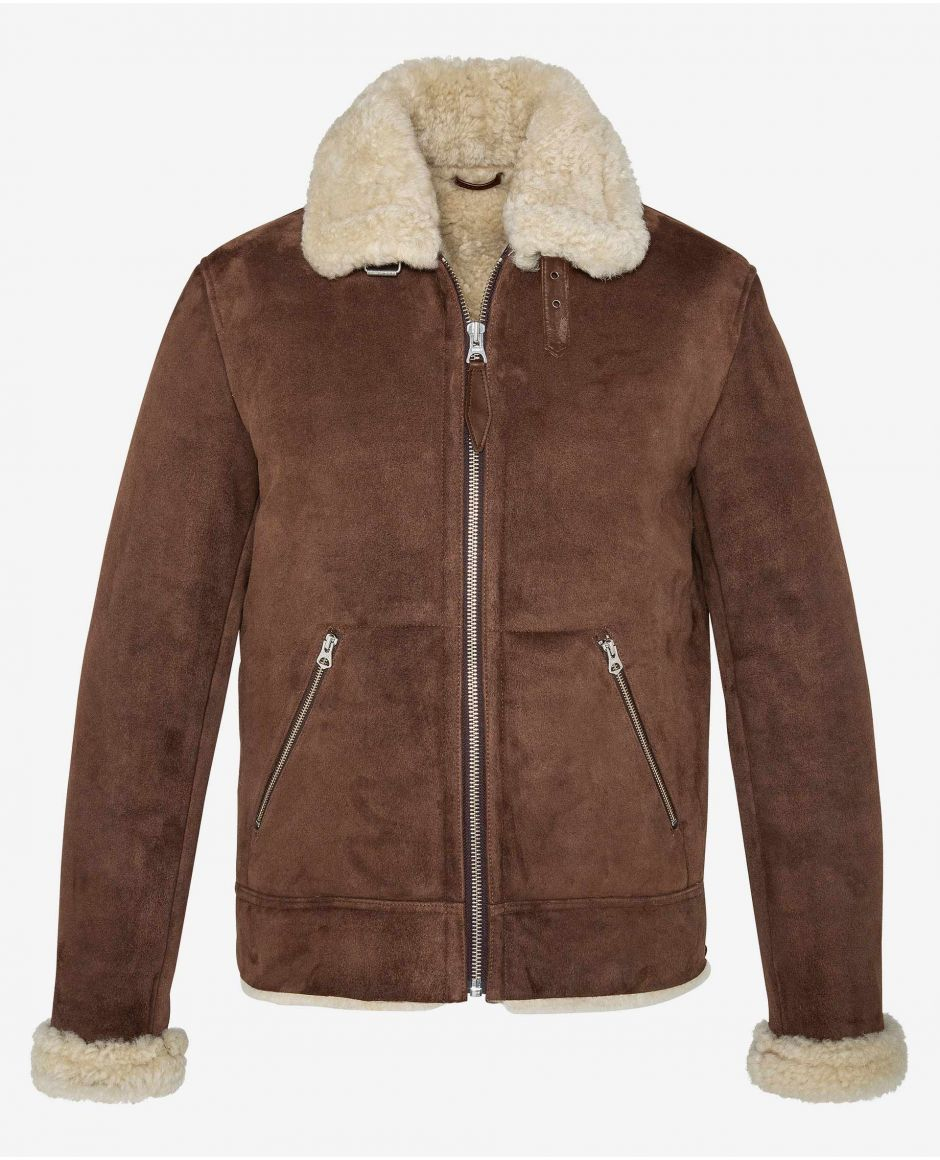 Retro double face sheepskin jacket