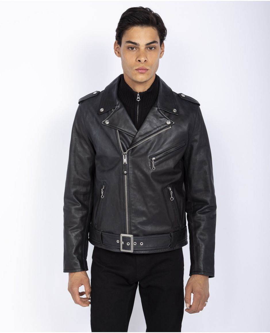 Fitted Perfecto® jacket, buckled half belt, cuir de vachette