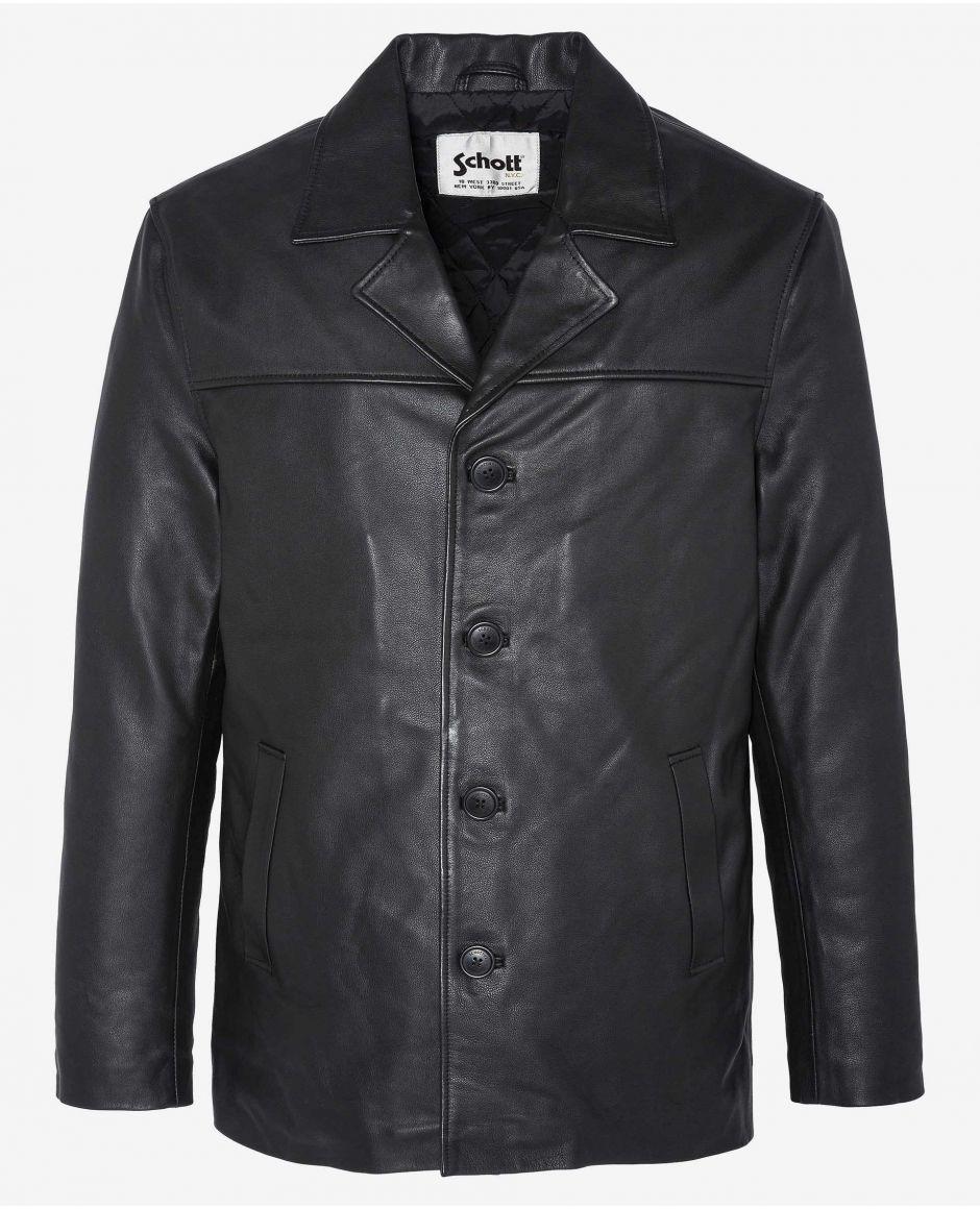 Straight leather coat
