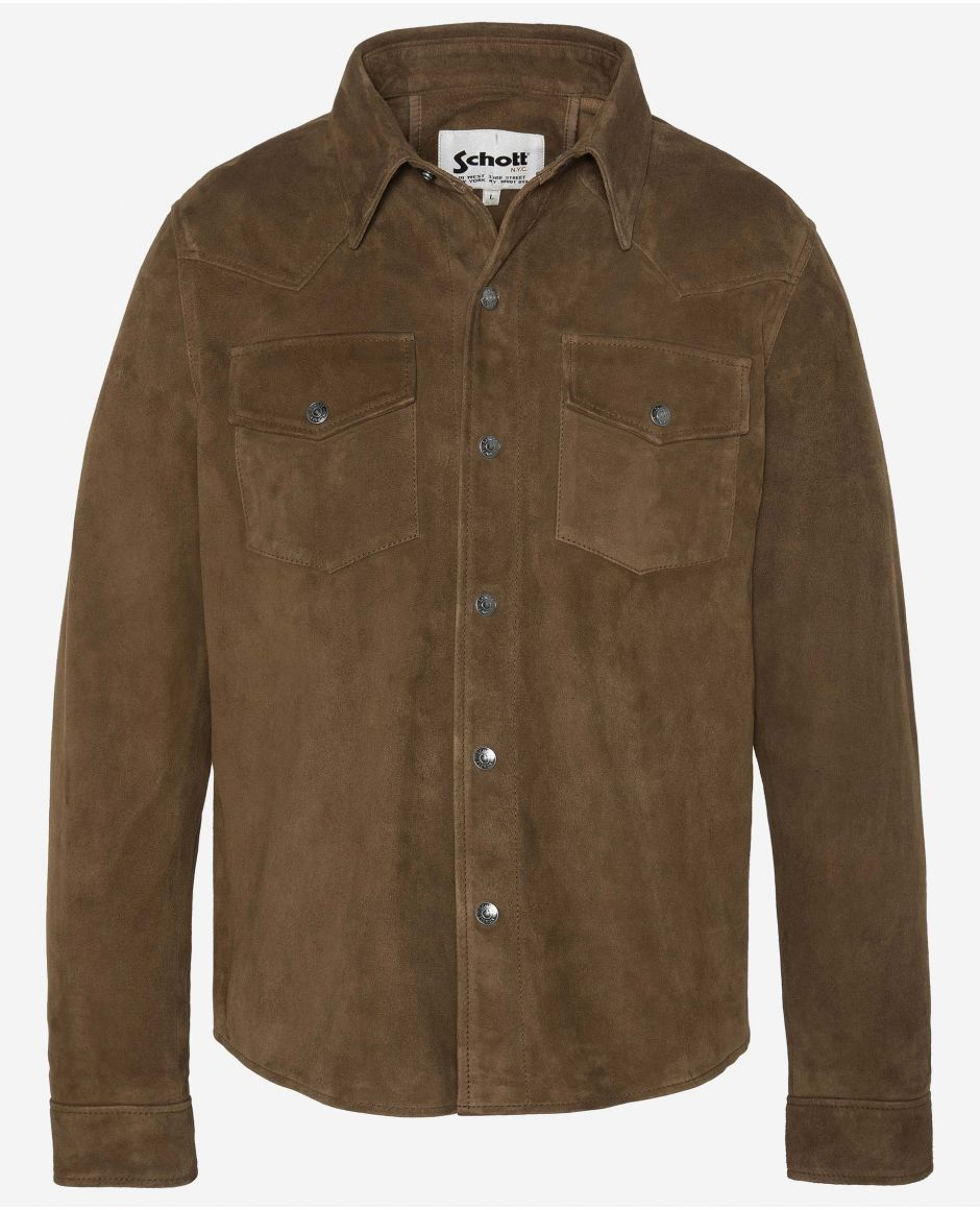 Western leather overshirt