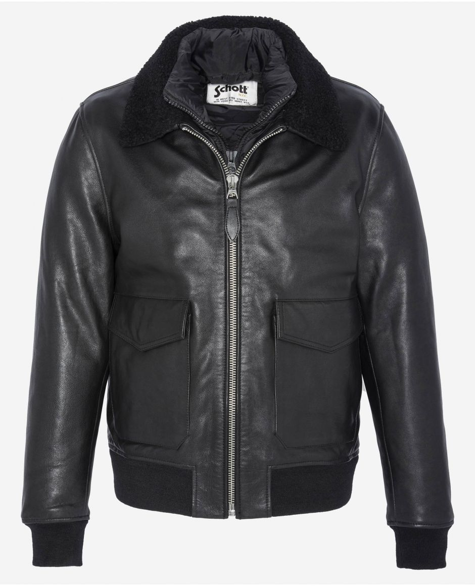 A-2 Flight jacket, removable shearling collar