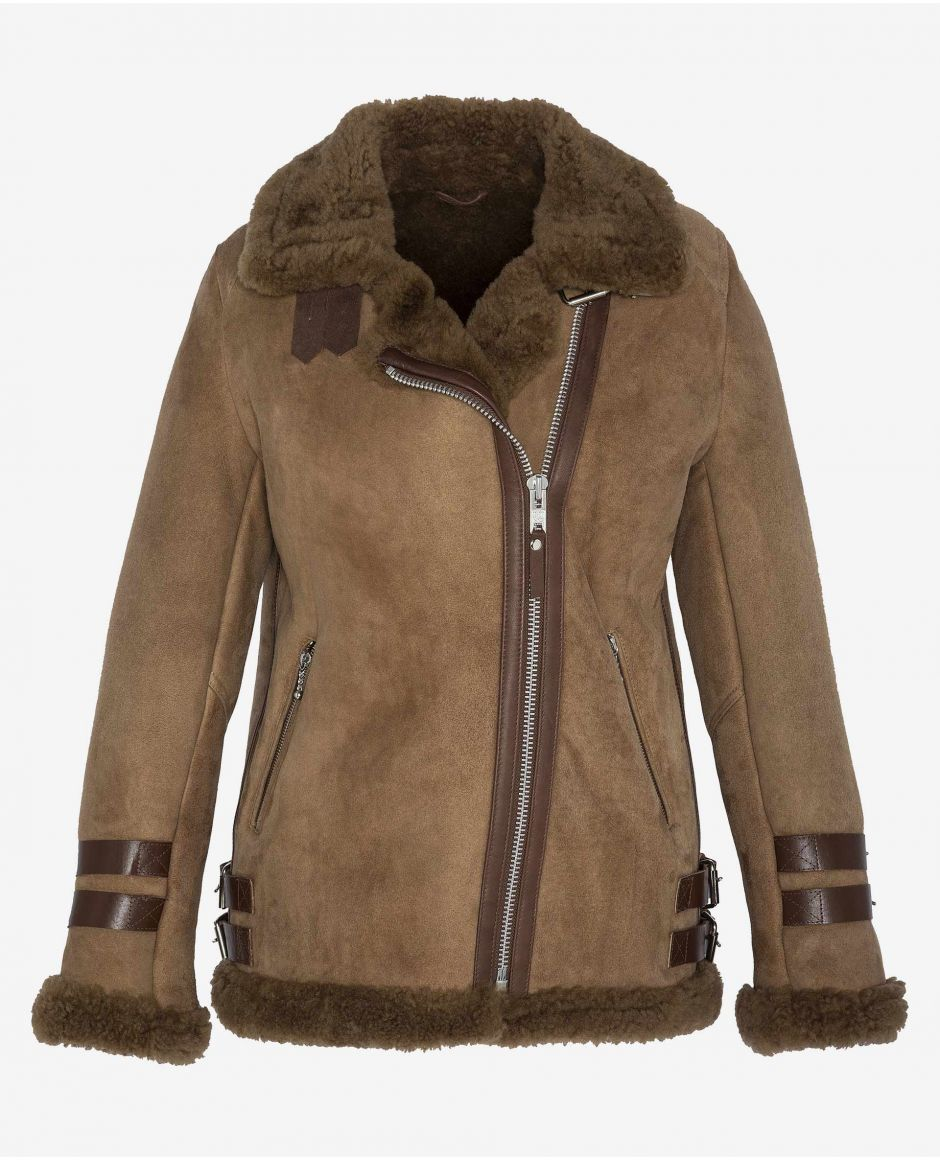 Sheepskin suede Perfecto inspired jacket