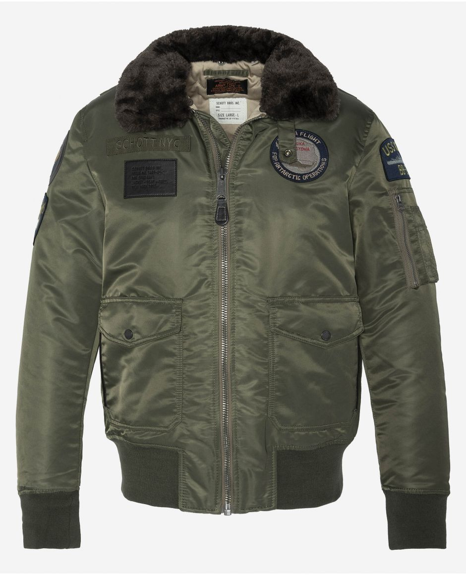 Patched bomber jacket