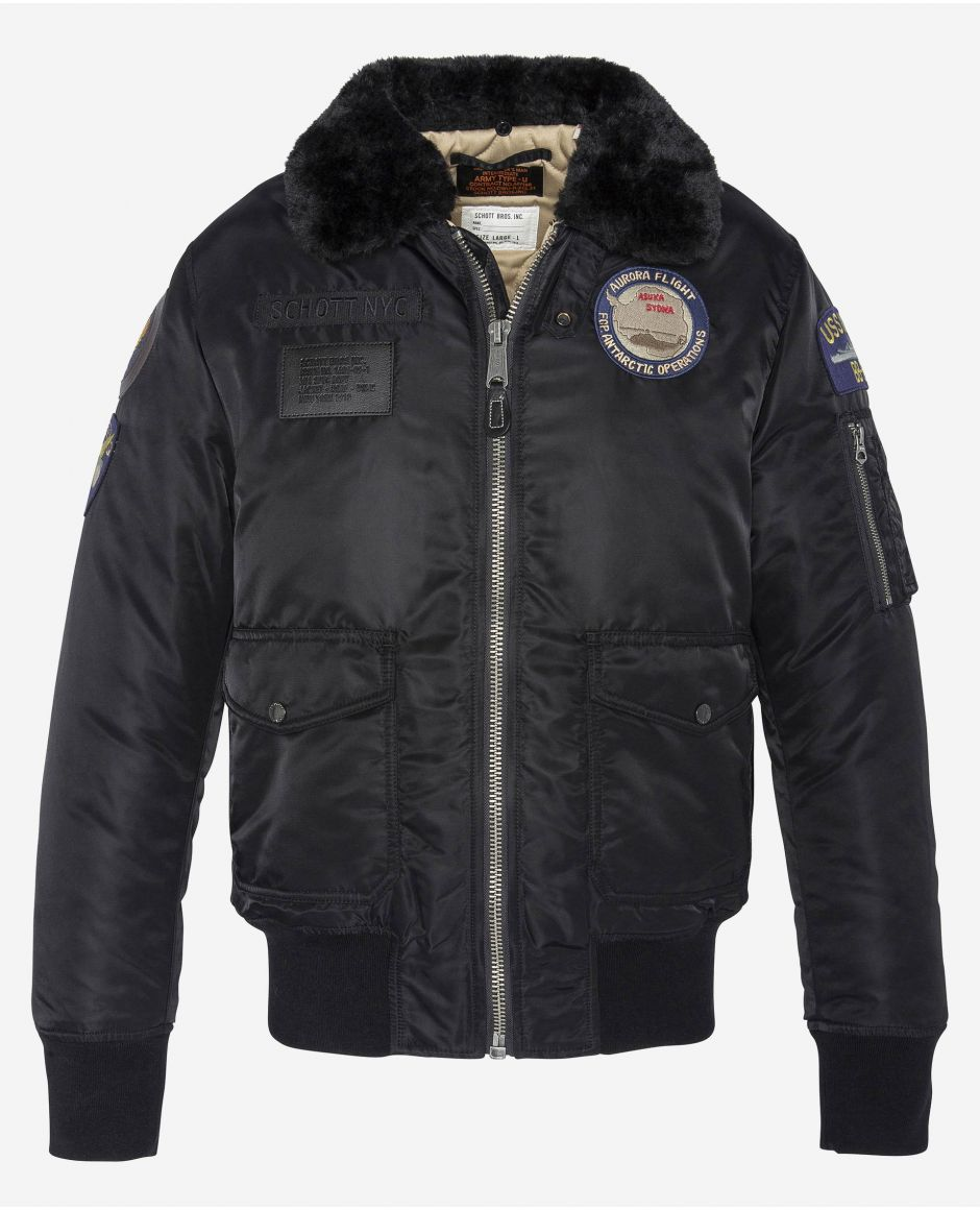 Pilot jacket with army patches