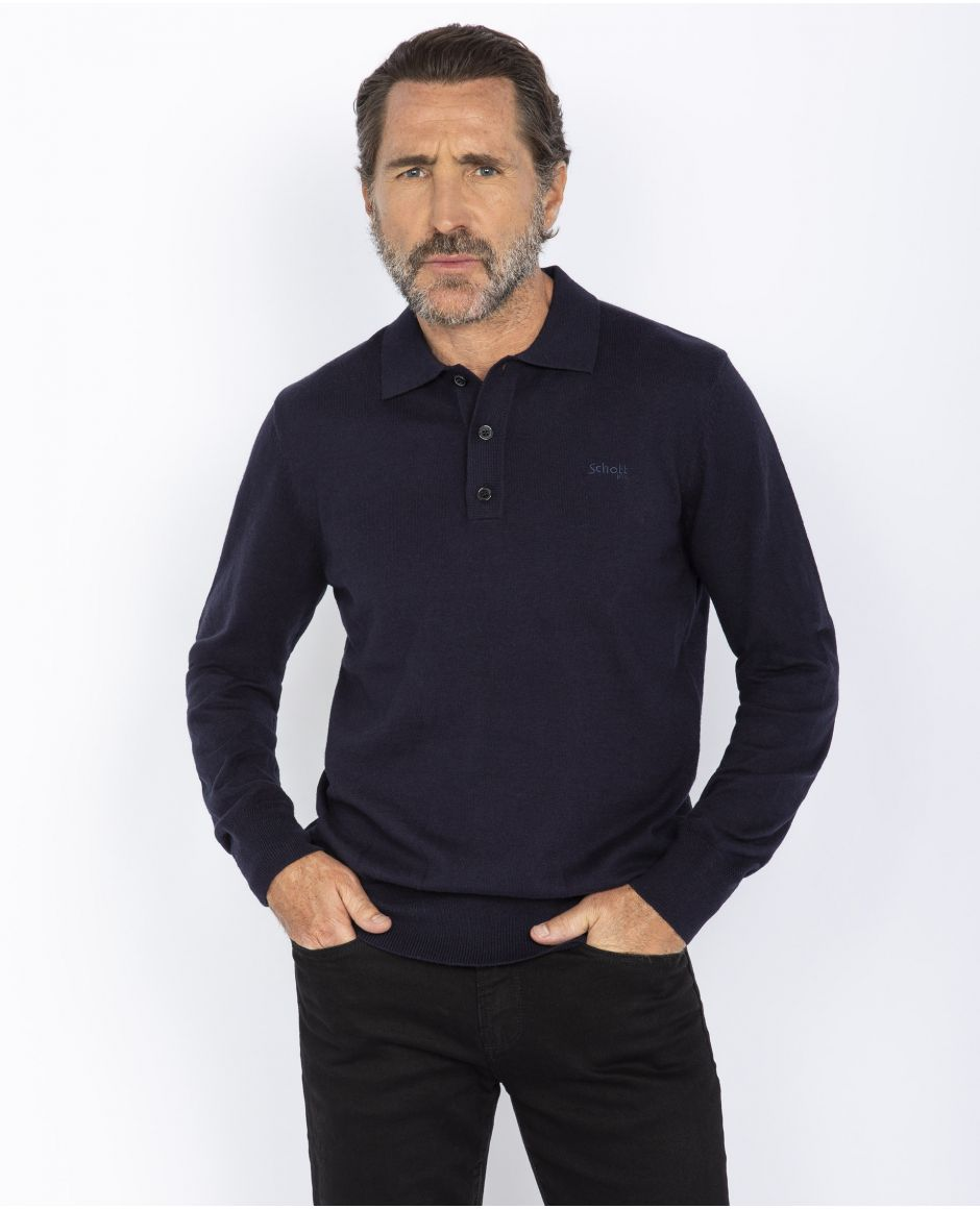 Sweater with polo collar