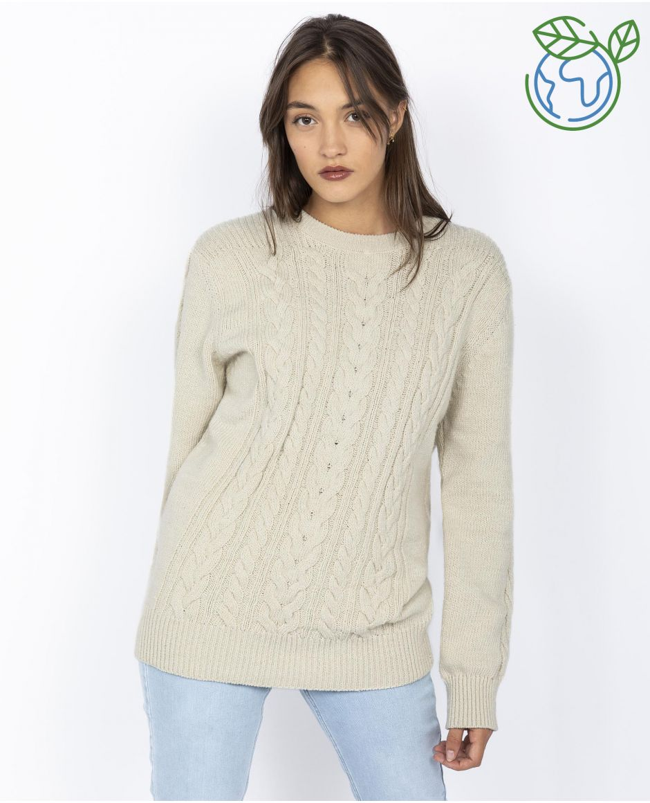 Crewneck cable sweater, ecofriendly