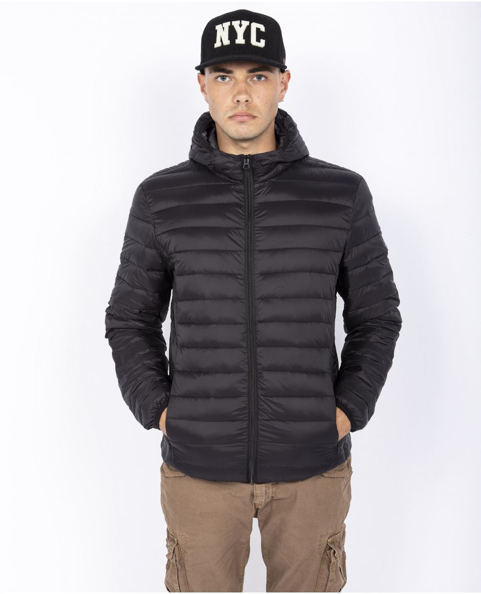 Lightweight down hooded jacket