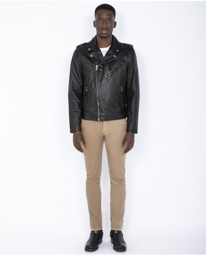Fitted Perfecto® jacket, with belt, cuir de d'agneau lavé