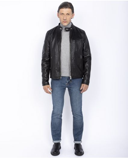 True classic Café racer jacket, cuir d'agneau